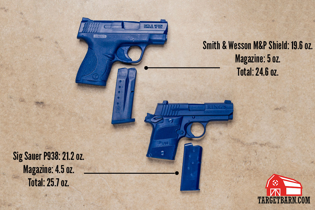 Smith & Wesson M&P Shield and Sig Sauer P938 weighted blue guns and magazines with weights listed
