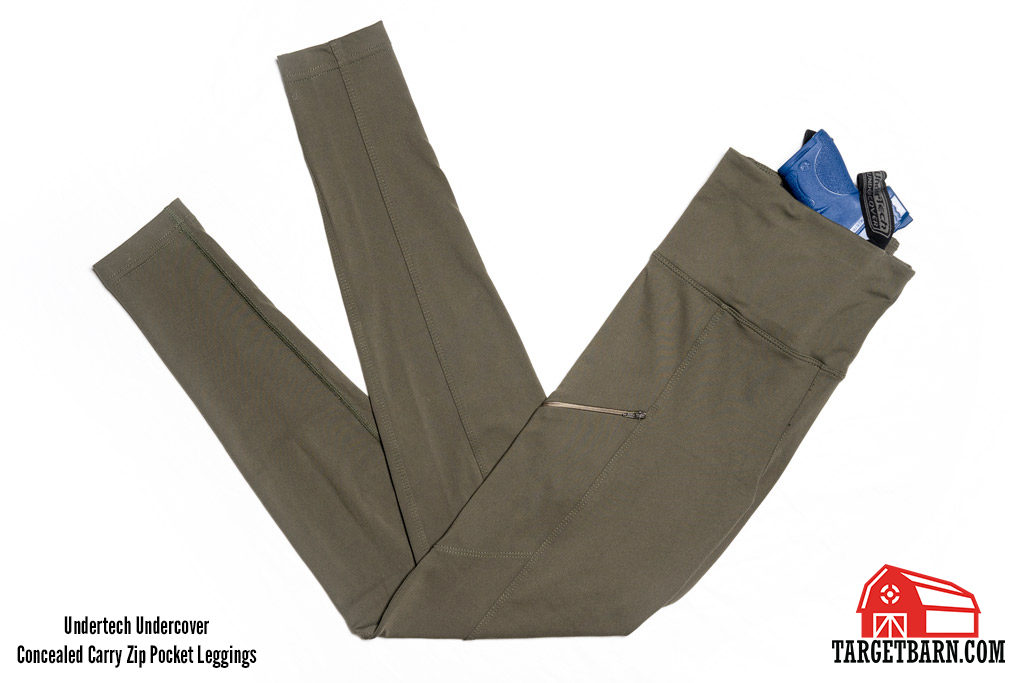 Undertech Undercover concealed carry zip pocket leggings with blue gun