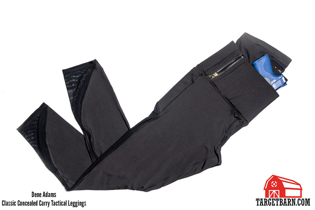 Dene Adams Classic Concealed Carry Tactical Leggings with blue gun
