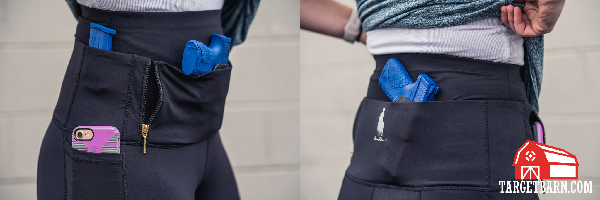 front and back view of Dene Adams Classic Concealed Carry Tactical Leggings with blue guns and magazine holstered