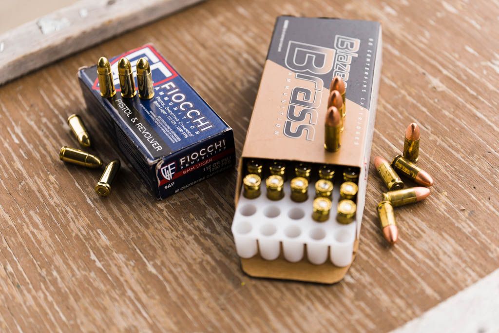 Fiocchi 9mm FMJ and Blazer Brass 9mm FMJ boxes and rounds