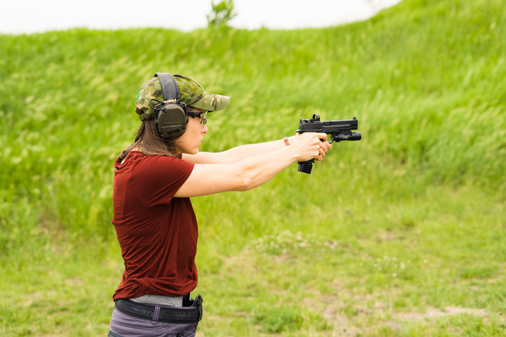 the author training on the range with JHP ammo