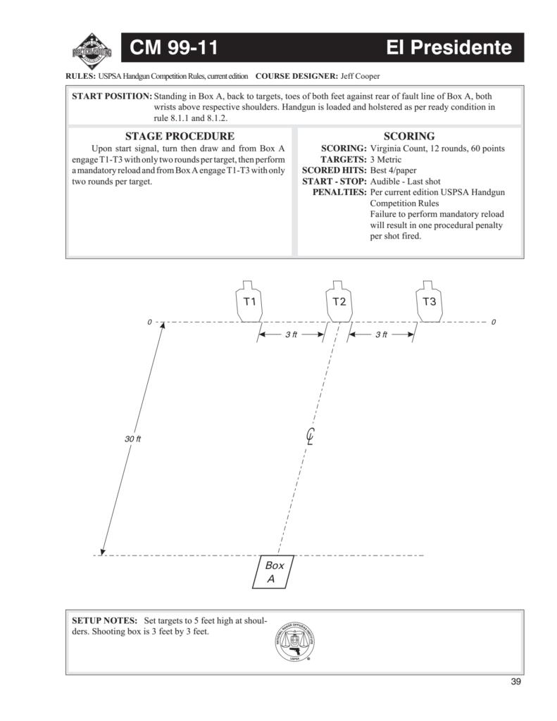 Diagram of USPSA El Presidente stage drill