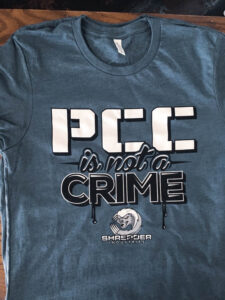 """""""PCC is not a crime"""" shirt from Shredder Industries"""