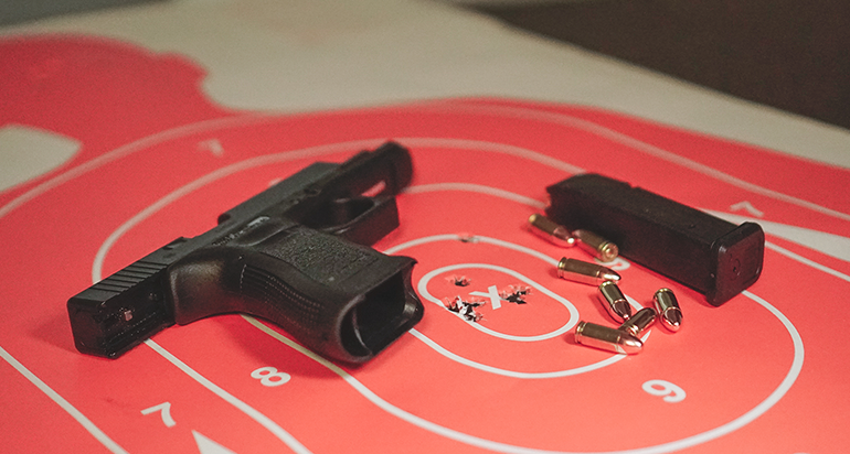 Pistol on a target